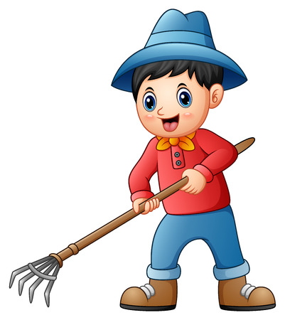 Vector illustration of Cartoon little farmer holding a pitchfork