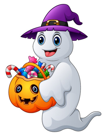 Vector illustration of Halloween ghosts holds pumpkin bag full candy