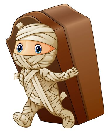 Kid in a mummy costume with coffin