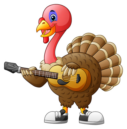 Cartoon turkey with a guitar