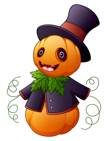 Vector illustration of Halloween cartoon scarecrow with pumpkin head Illustration