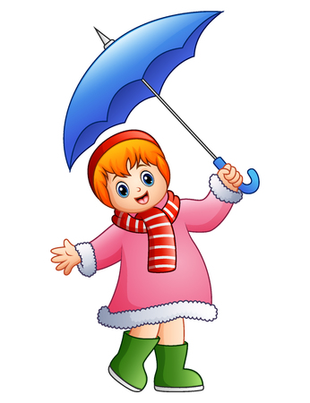 rainy season: Vector illustration of Happy girl under umbrella