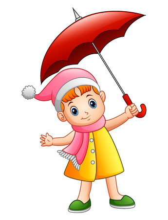 Vector illustration of Happy little girl with umbrella