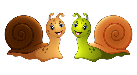 Vector illustration of Snails cartoon in two colours