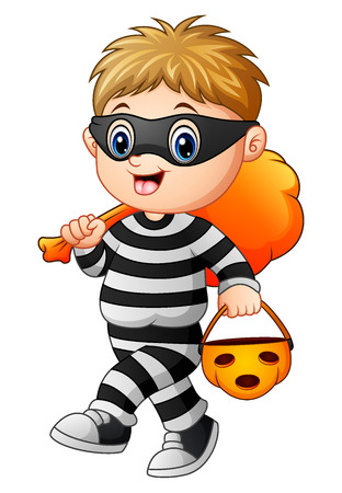 Vector illustration of Cartoon thief Illustration