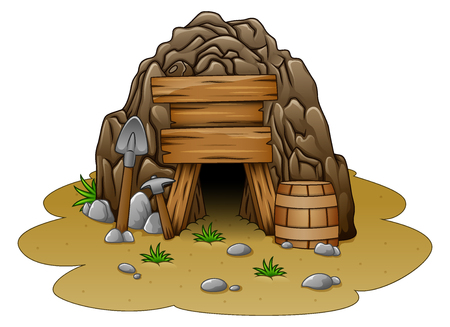 Vector illustration of Cartoon cave entrance Çizim