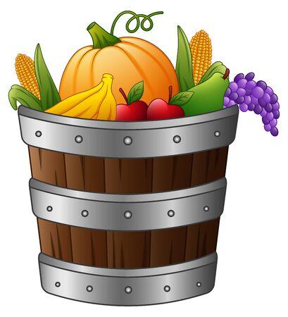 Vector illustration of Wooden basket with harvest fruits and vegetables Illustration