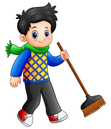 Vector illustration of Cartoon boy holding a broom Illustration