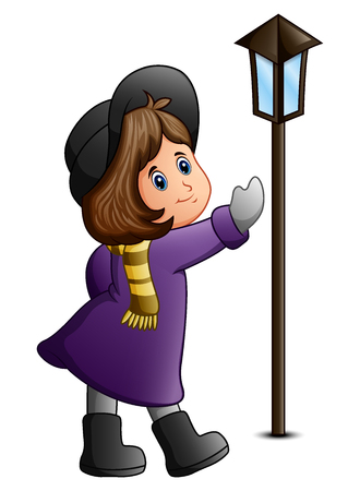 Vector illustration of Cute little girl with lamppost