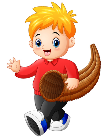 Vector illustration of Little boy with horn of plenty