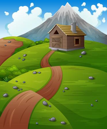 Berglandschap met houten hut op de heuvels