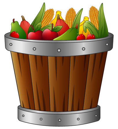 Wooden basket with harvest fruits and vegetables Stock Photo