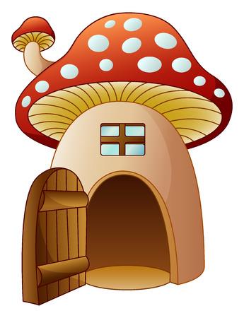 Cartoon mushroom house with open door Stock Photo