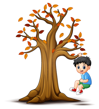 Kids playing with autumn tree Stock Photo