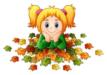 Cute little girl with autumn leaves