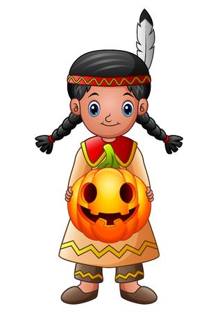 アメリカ ・ インディアンの少女持株カボチャ