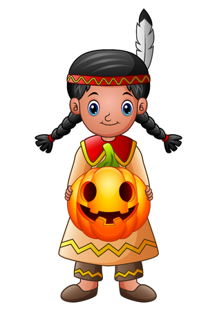 American Indian girl holding pumpkin Фото со стока