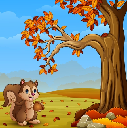 Cartoon squirrel in the autumn forest Stock Photo