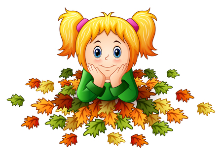 Vector illustration of Cute little girl with autumn leaves
