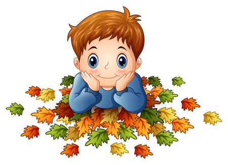 lay down: Illustration of Cute little boy with autumn leaves