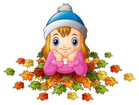 Illustration of Little happy girl with autumn leaves