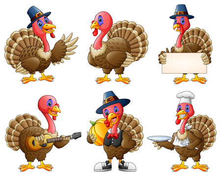 Vector illustration of Cartoon turkey mascot set Vettoriali
