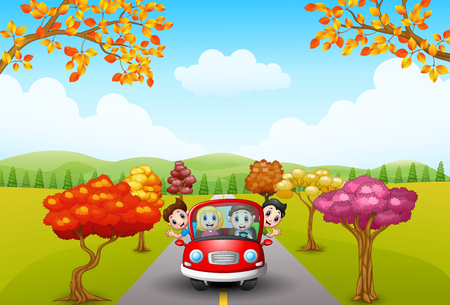 happy family: Vector illustration of Families drive in autumn Illustration