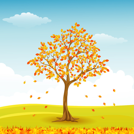 Illustration of Autumn tree with falling leaves