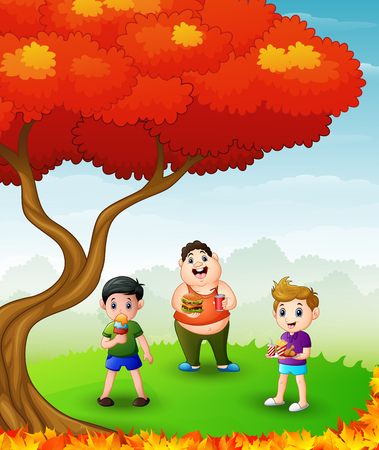 Illustration of Happy Boys eating in the autumn trees Illustration