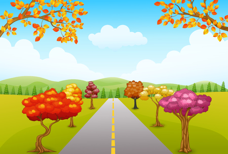 field maple: Illustration of Autumn park landscape with a road and trees