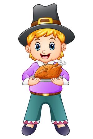 Vector illustration of Cute pilgrim boy holding a roasted turkey