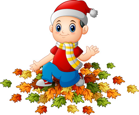 child sitting: Illustration of Little boy wearing santa hat with autumn leaves