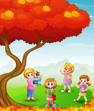 Illustration of Happy kids studying in the autumn trees