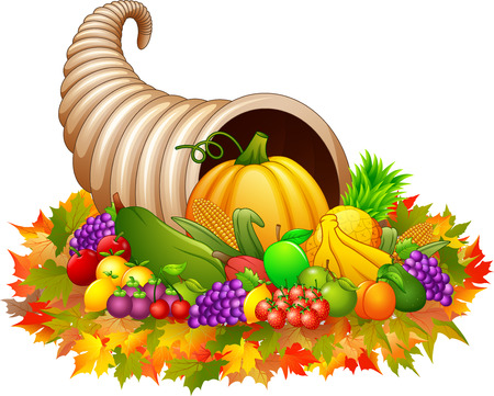A Vector illustration of Horn of plenty cornucopia with vegetables and fruits. Stock Illustratie
