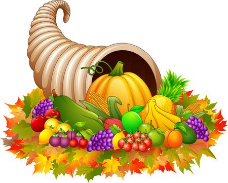 Una ilustración del vector de Cornucopia del cuerno de la abundancia con las verduras y las frutas. Foto de archivo - 87153914