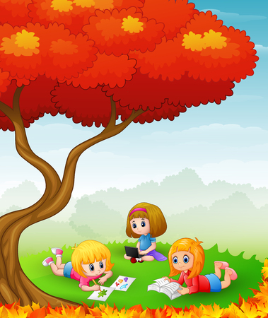 girl laptop: Vector illustration of Happy children studying in the autumn trees