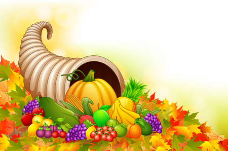Vector illustration of Autumn cornucopia horn of plenty with fruits