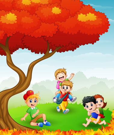 child sitting: A Vector illustration of Happy children playing in the autumn trees.