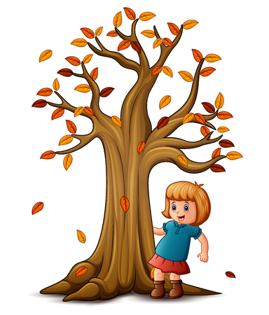 humor: Vector illustration of Cute little girl with autumn tree