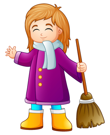 Vector illustration of Cartoon Girl holding a broom Illustration