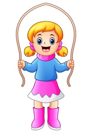 humor: Vector illustration of Cartoon girl playing jumping rope