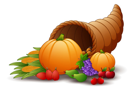 Vector illustration of Horn of plenty cornucopia with fruits and pumpkins Vektoros illusztráció
