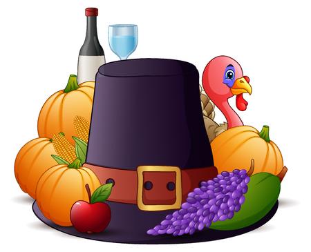 humor: Vector illustration of Happy Thanksgiving cartoon Illustration