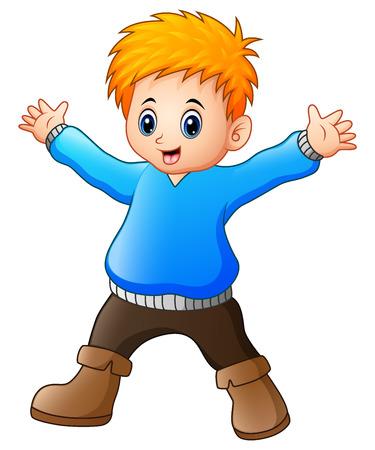 humor: Vector illustration of Happy boy cartoon Illustration