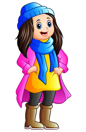 Vector illustration of Cute girl wearing winter clothes