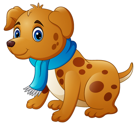 Vector illustration of Cartoon dog in a scarf