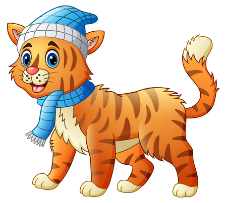 humor: Vector illustration of Cartoon funny dressed cat or tiger in the scarf and hat