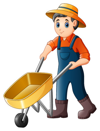humor: Vector illustration of Cartoon young farmer pushing a wheelbarrow
