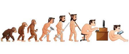 Vector illustration of Cartoon Human Evolution and Technology