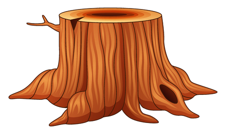 Vector illustration of Tree stump isolated on a white background